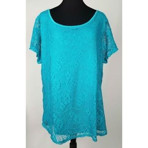 Leo & Nicole Blue Floral Lace Top Women's Large